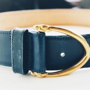 Coach   Navy Blue Leather Belt Brass Buckle Size M